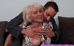 Mr Big granny fucked increased by jizzed on hairypussy