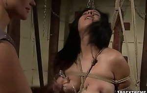 Horny babe with big bowels gets screwed by mistress