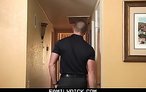 FamilyDick - Hawt muscle daddy copulates stepson&rsquo_s indiscretion for bringing off with the fervency