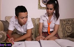 Asian old crumpet sucks off ladyboy study partner schoolgirl